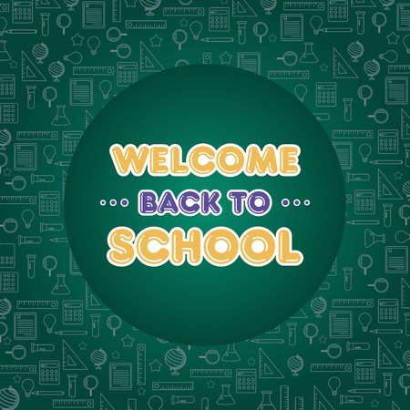 Back to school poster welcome education vector illustration Stock Illustratie