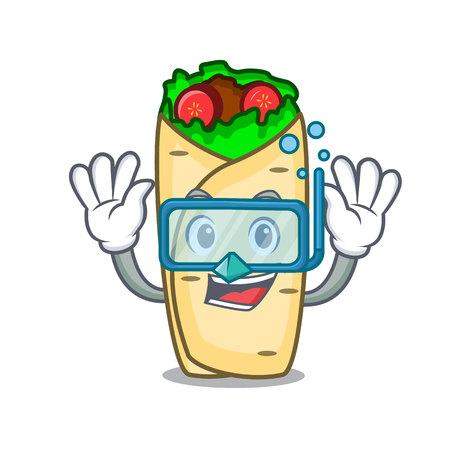 Illustration vectorielle de plongée burrito personnage cartoon style