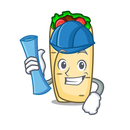 Architect burrito character cartoon style vector illustration