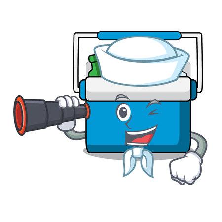 Sailor with binocular freezer bag mascot cartoon vector illustration