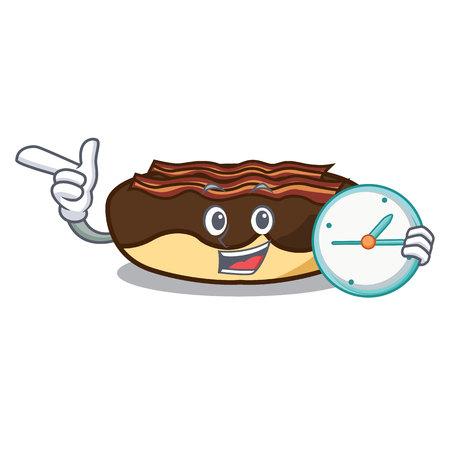 Met klok esdoorn bacon bar karakter cartoon vectorillustratie Stockfoto - 102699998