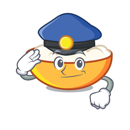 Police cottage cheese character cartoon Illustration