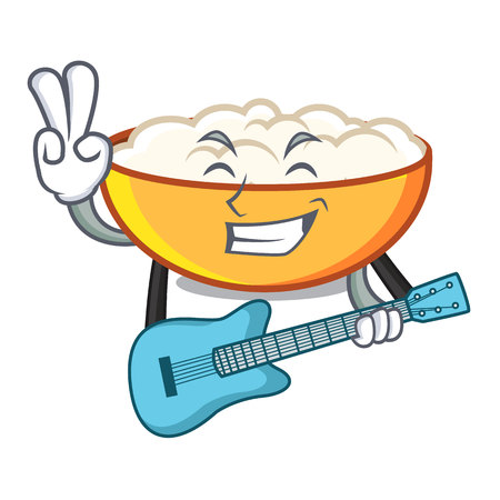 With guitar cottage cheese mascot cartoon
