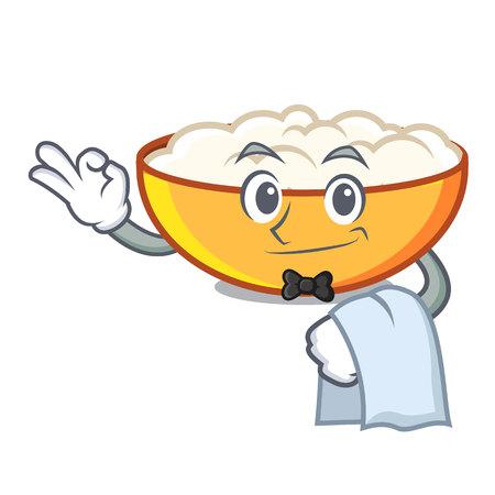 Waiter cottage cheese mascot cartoon