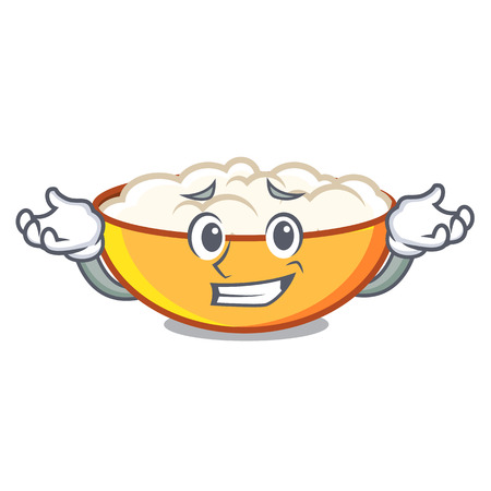 Grinning cottage cheese character cartoon