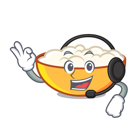 With headphone cottage cheese mascot cartoon