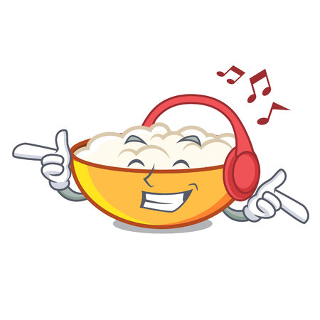 Listening music cottage cheese mascot cartoon Illustration