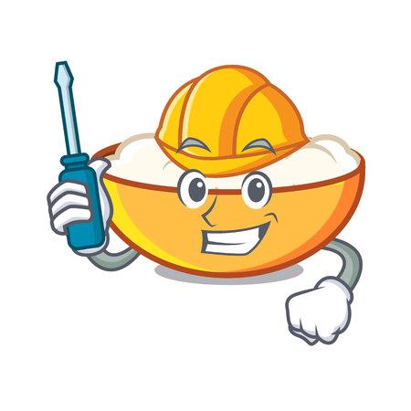 Automotive cottage cheese mascot cartoon vector illustration Illustration