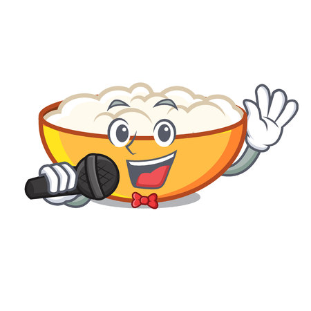 Singing cottage cheese mascot cartoon