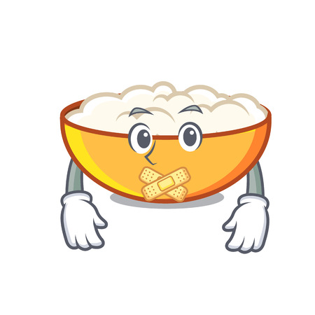 Silent cottage cheese mascot cartoon