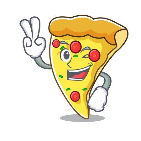 Two finger pizza slice character cartoon Ilustración de vector