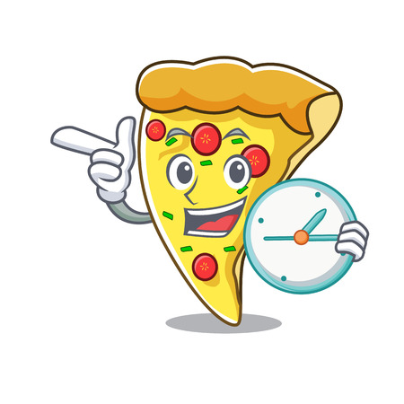 With clock pizza slice character cartoon