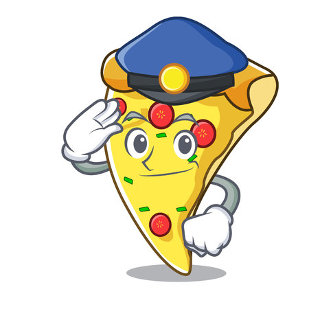 Police pizza slice character cartoon vector illustration Ilustracja