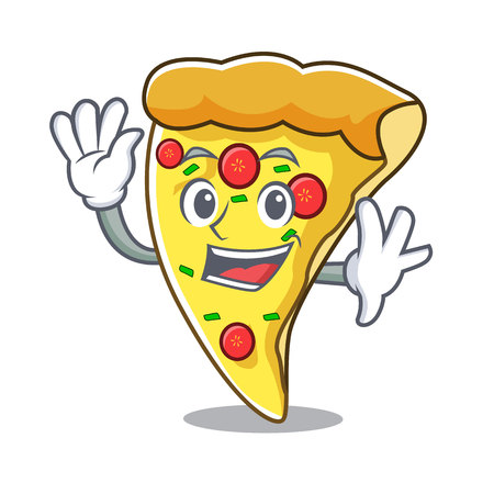 Waving pizza slice character cartoon vector illustration