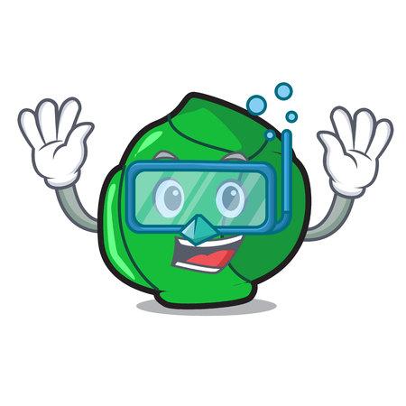Diving brussels character cartoon style Иллюстрация