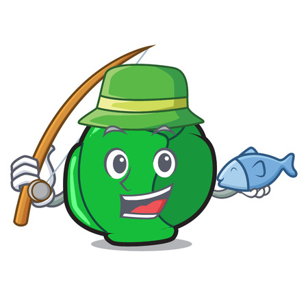 Fishing brussels mascot cartoon style Illustration