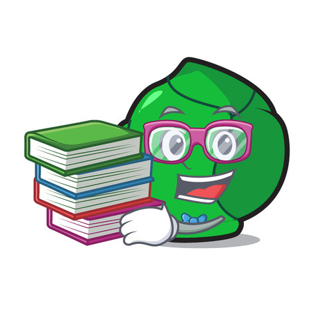 Student with book brussels mascot cartoon style