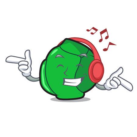 Listening music brussels mascot cartoon style Çizim