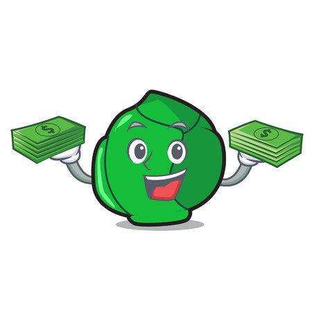 With money bag brussels mascot cartoon style Stock Illustratie