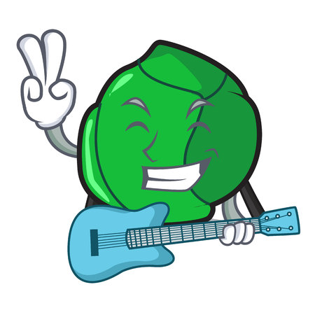 With guitar brussels mascot cartoon style