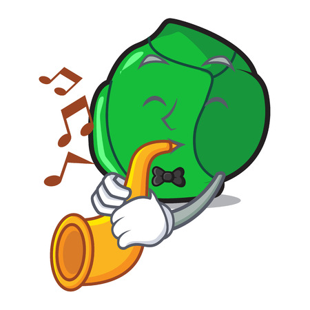 With trumpet brussels mascot cartoon style Stock Illustratie