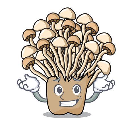 Grinning enoki mushroom character cartoon vector illustration Ilustração