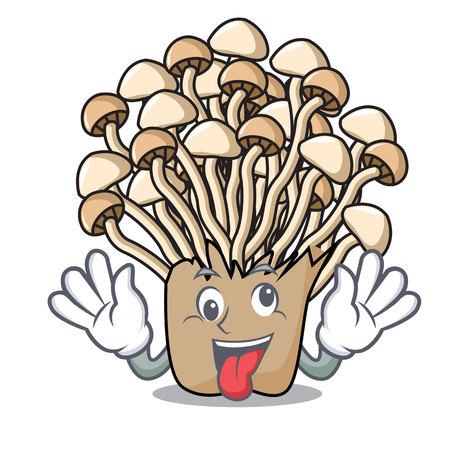 Crazy enoki mushroom mascot cartoon vector illustration Illustration
