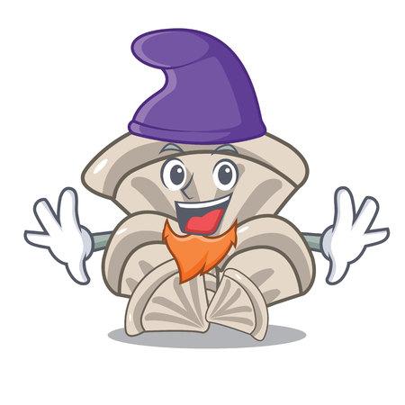 Elf oyster mushroom character cartoon vector illustration