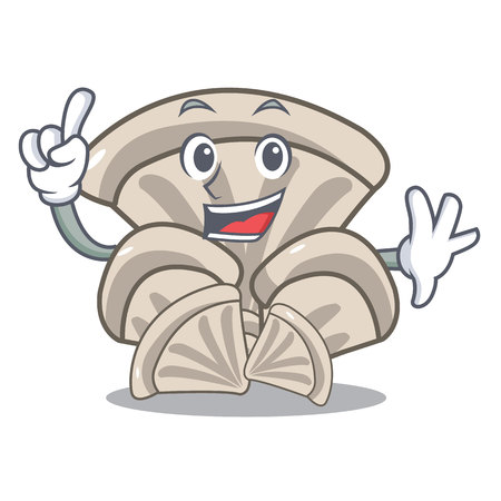 Finger oyster mushroom mascot cartoon vector illustration Ilustração