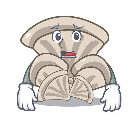 Afraid oyster mushroom mascot cartoon vector illustration Vettoriali