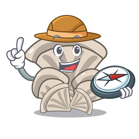 Explorer oyster mushroom mascot cartoon vector illustration Vettoriali