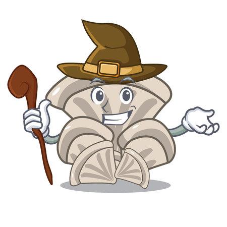 Witch oyster mushroom mascot cartoon vector illustration