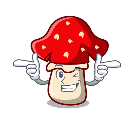 Wink amanita mushroom character cartoon vector illustration Çizim