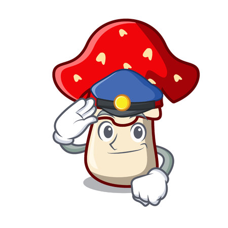 Police amanita mushroom character cartoon vector illustration