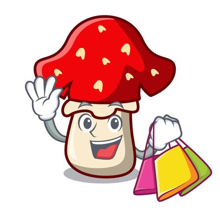 Shopping amanita mushroom character cartoon vector illustration