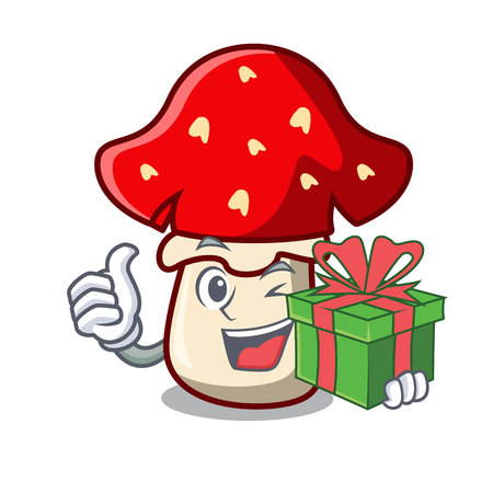 With gift amanita mushroom mascot cartoon vector illustration Çizim