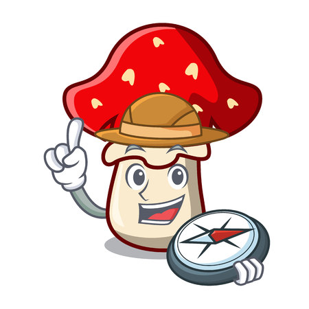 Explorer amanita mushroom mascot cartoon vector illustration Çizim
