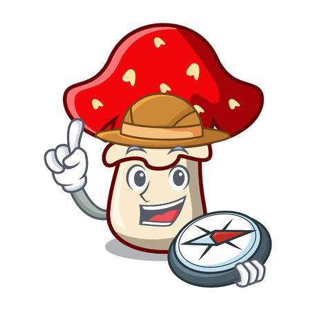 Explorer amanita mushroom mascot cartoon vector illustration Illustration