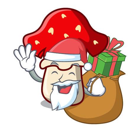 Santa with gift amanita mushroom mascot cartoon vector illustration