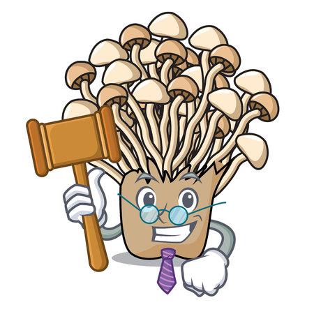 Judge enoki mushroom mascot cartoon