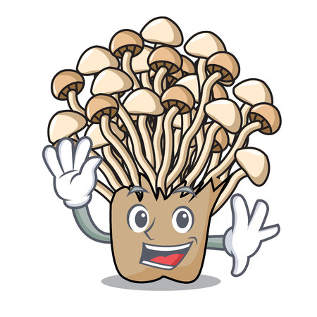 Waving enoki mushroom character cartoon