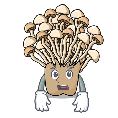 Afraid enoki mushroom mascot cartoon