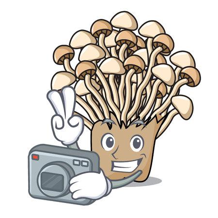 Photographer enoki mushroom mascot cartoon Illustration