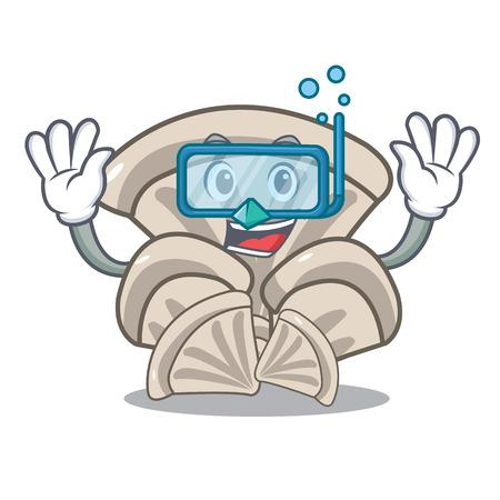 Diving oyster mushroom character cartoon Illustration