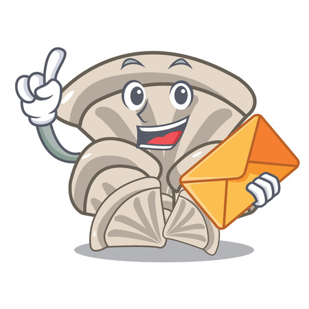 With envelope oyster mushroom character cartoon