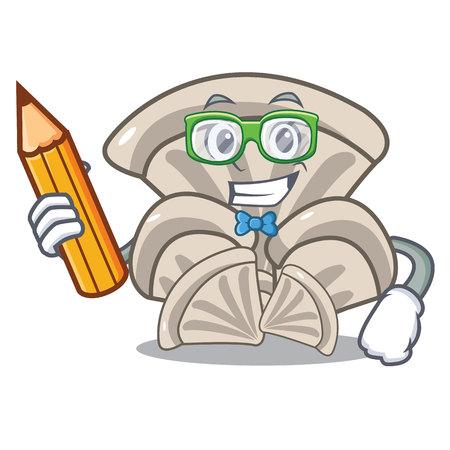 Student oyster mushroom character cartoon Vettoriali
