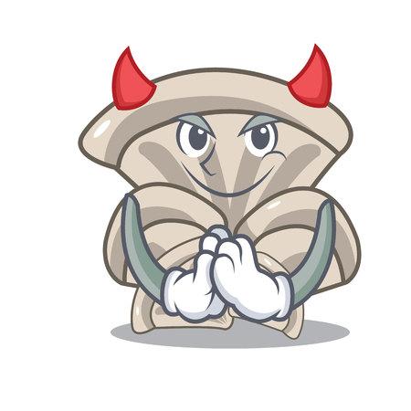 Devil oyster mushroom mascot cartoon Vettoriali