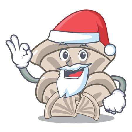 Santa oyster mushroom mascot cartoon Stock Illustratie
