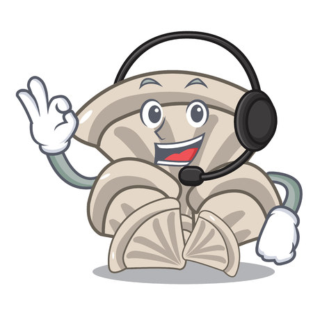 With headphone oyster mushroom mascot cartoon