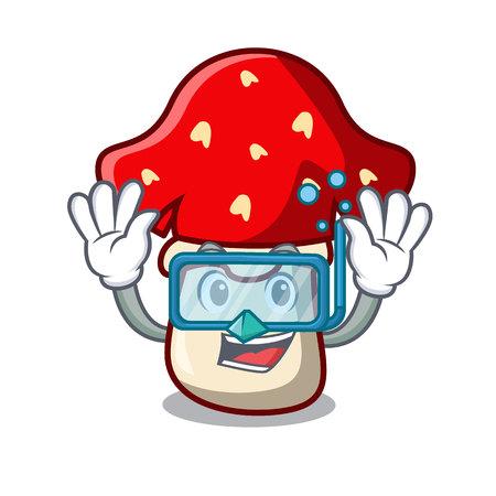 Diving amanita mushroom character cartoon Çizim